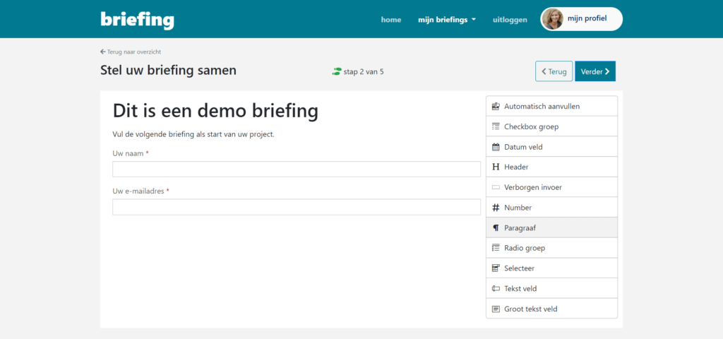 Drag and drop functionality for creating your briefing form.